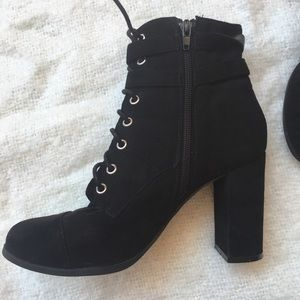 Black Heeled Lace Up Booties with Silver Buckles